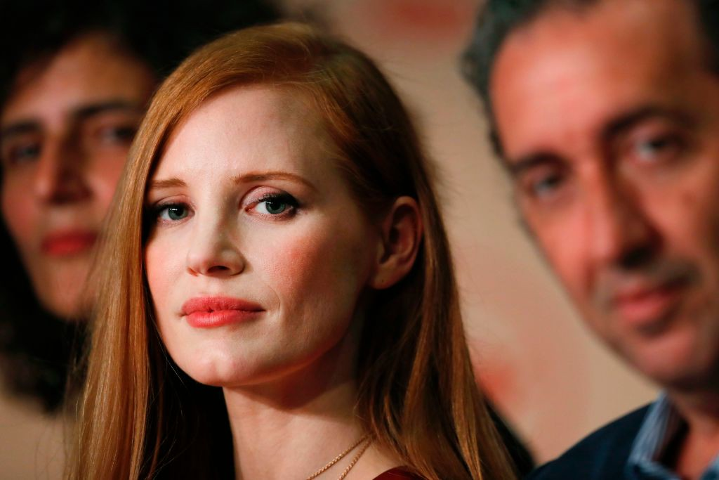 . US actress and member of the Feature Film jury Jessica Chastain and Italian director and member of the Feature Film jury Paolo Sorrentino attend on May 17, 2017 a press conference ahead of the opening ceremony of the 70th edition of the Cannes Film Festival in Cannes, southern France.  (LAURENT EMMANUEL/AFP/Getty Images)
