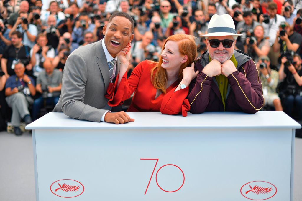 . TOPSHOT - (fromL) US actor and member of the Feature Film jury Will Smith, US actress and member of the Feature Film jury Jessica Chastain and Spanish director and President of the Feature Film Jury Pedro Almodovar pose on May 17, 2017 during a photocall ahead of the opening ceremony of the 70th edition of the Cannes Film Festival in Cannes, southern France.  (LOIC VENANCE/AFP/Getty Images)