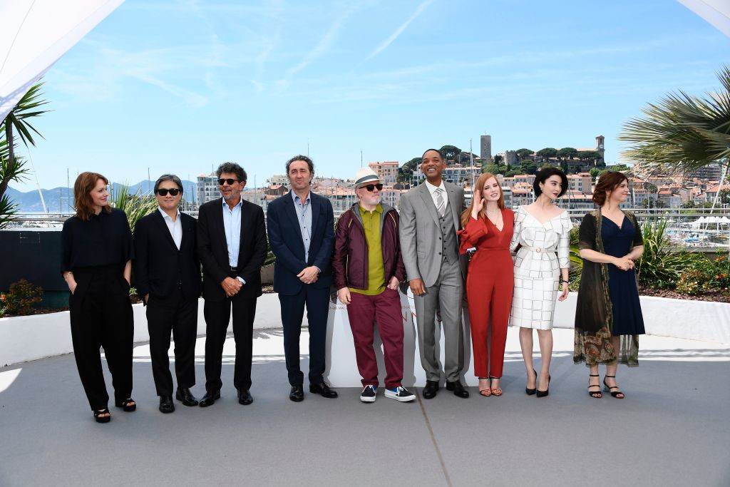 . Spanish director and President of the Feature Film Jury Pedro Almodovar (C) poses on May 17, 2017 with jury members (fromL) German director Maren Ade, South Korean director Park Chan-wook, French music composer Gabriel Yared, Italian director Paolo Sorrentino, US actor Will Smith, US actress Jessica Chastain, Chinese actress Fan Bingbing and French actress and director Agnes Jaoui during a photocall ahead of the opening ceremony of the 70th edition of the Cannes Film Festival in Cannes, southern France. (ANNE-CHRISTINE POUJOULAT/AFP/Getty Images)