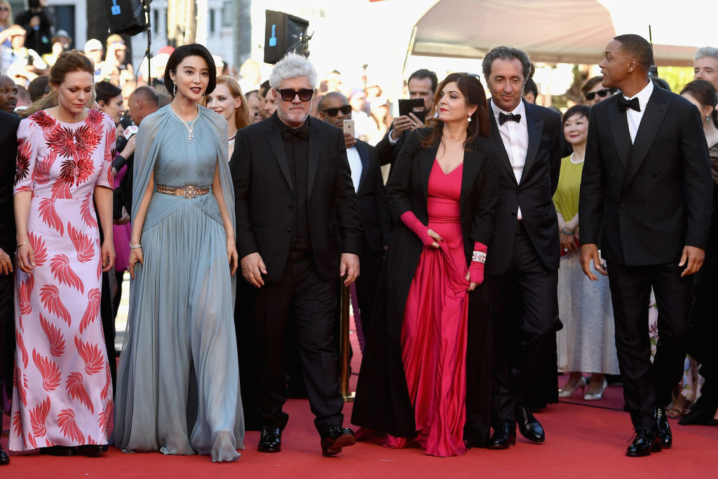 ". CANNES, FRANCE - MAY 17:  Jury members Maren Ade and Fan Bingbing, President of the jury Pedro Almodovar and jury members Agnes Jaoui, Paolo Sorrentino and Will Smith attends the ""Ismael\'s Ghosts (Les Fantomes d\'Ismael)\"" screening and Opening Gala during the 70th annual Cannes Film Festival at Palais des Festivals on May 17, 2017 in Cannes, France.  (Photo by Pascal Le Segretain/Getty Images)"