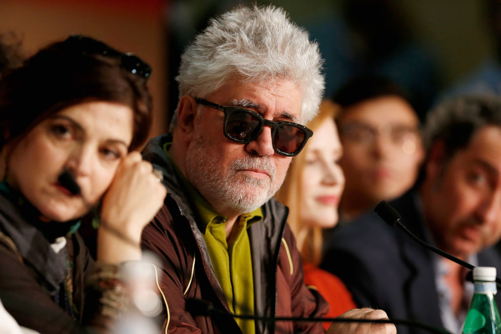 . CANNES, FRANCE - MAY 17:  (L-R) Jury Member Agnes Jaoui and President of the jury Pedro Almodovar attend the Jury press conference during the 70th annual Cannes Film Festival at Palais des Festivals on May 17, 2017 in Cannes, France.  (Photo by Getty Images/Getty Images)