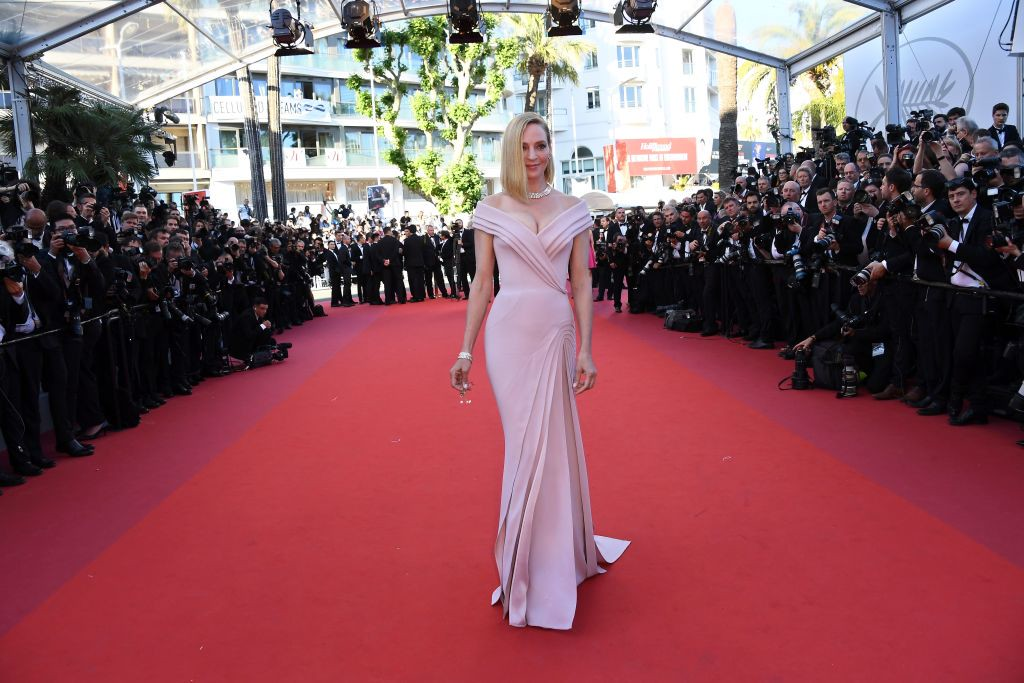 . US actress and President of the Un Certain Regard jury Uma Thurman poses as she arrives on May 17, 2017 for the screening of the film \'Ismael\'s Ghosts\' (Les Fantomes d\'Ismael) during the opening ceremony of the 70th edition of the Cannes Film Festival in Cannes, southern France.  (ANNE-CHRISTINE POUJOULAT/AFP/Getty Images)
