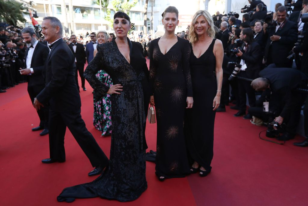 . Spanish actress Rossy de Palma (C), French comedian Michele Laroque (R) and her daughter Oriane Deschamps pose as they arrive on May 19, 2017 for the screening of the film \'Okja\' at the 70th edition of the Cannes Film Festival in Cannes, southern France.  (VALERY HACHE/AFP/Getty Images)