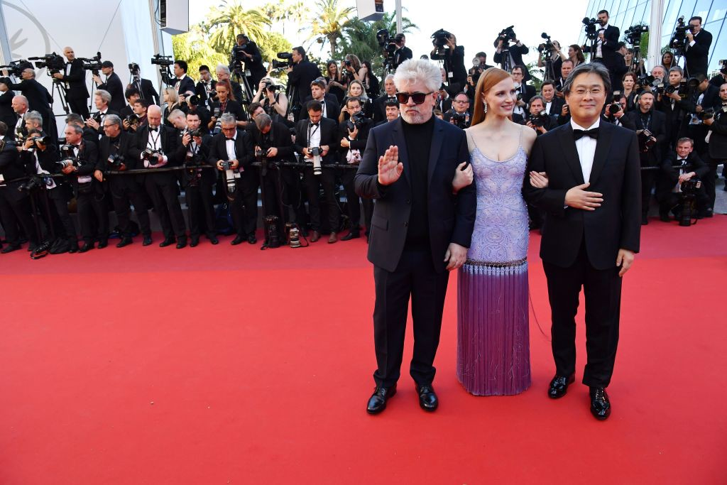 . (From R) South Korean director and member of the Feature Film jury Park Chan-wook, US actress and member of the Feature Film jury Jessica Chastain and Spanish director and President of the Feature Film Jury Pedro Almodovar pose as they arrive on May 19, 2017 for the screening of the film \'Okja\' at the 70th edition of the Cannes Film Festival in Cannes, southern France.  (ALBERTO PIZZOLI/AFP/Getty Images)