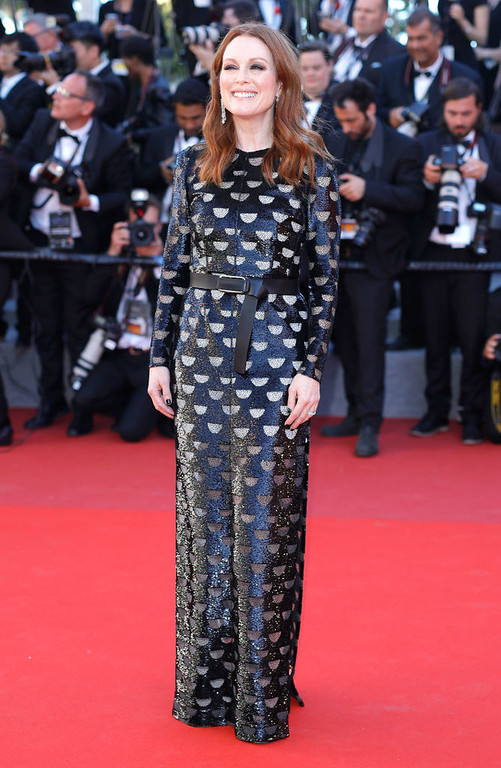 ". CANNES, FRANCE - MAY 19:  Julianne Moore attends the ""Okja\"" screening during the 70th annual Cannes Film Festival at Palais des Festivals on May 19, 2017 in Cannes, France.  (Photo by Andreas Rentz/Getty Images)"