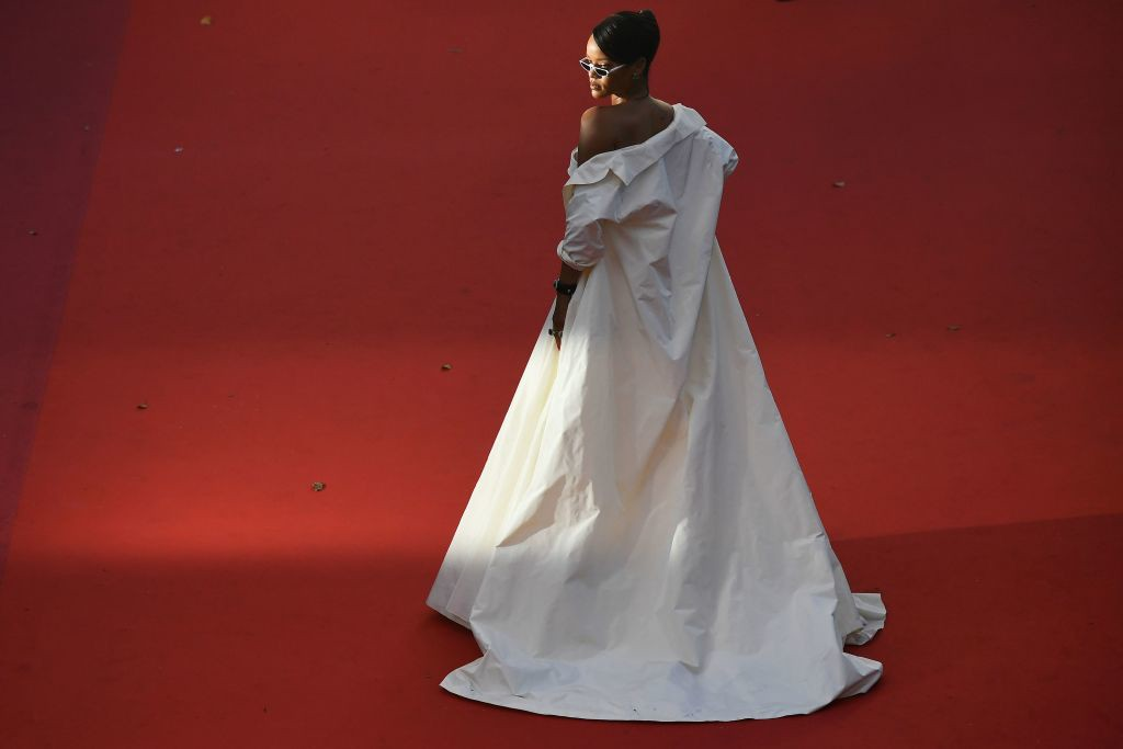 . Barbadian singer Rihanna poses as she arrives on May 19, 2017 for the screening of the film \'Okja\' at the 70th edition of the Cannes Film Festival in Cannes, southern France.  (ANTONIN THUILLIER/AFP/Getty Images)
