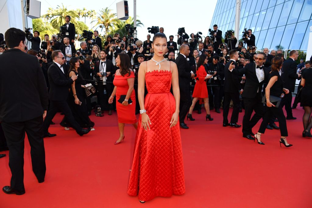 . US model Bella Hadid poses as she arrives on May 19, 2017 for the screening of the film \'Okja\' at the 70th edition of the Cannes Film Festival in Cannes, southern France.  (ALBERTO PIZZOLI/AFP/Getty Images)