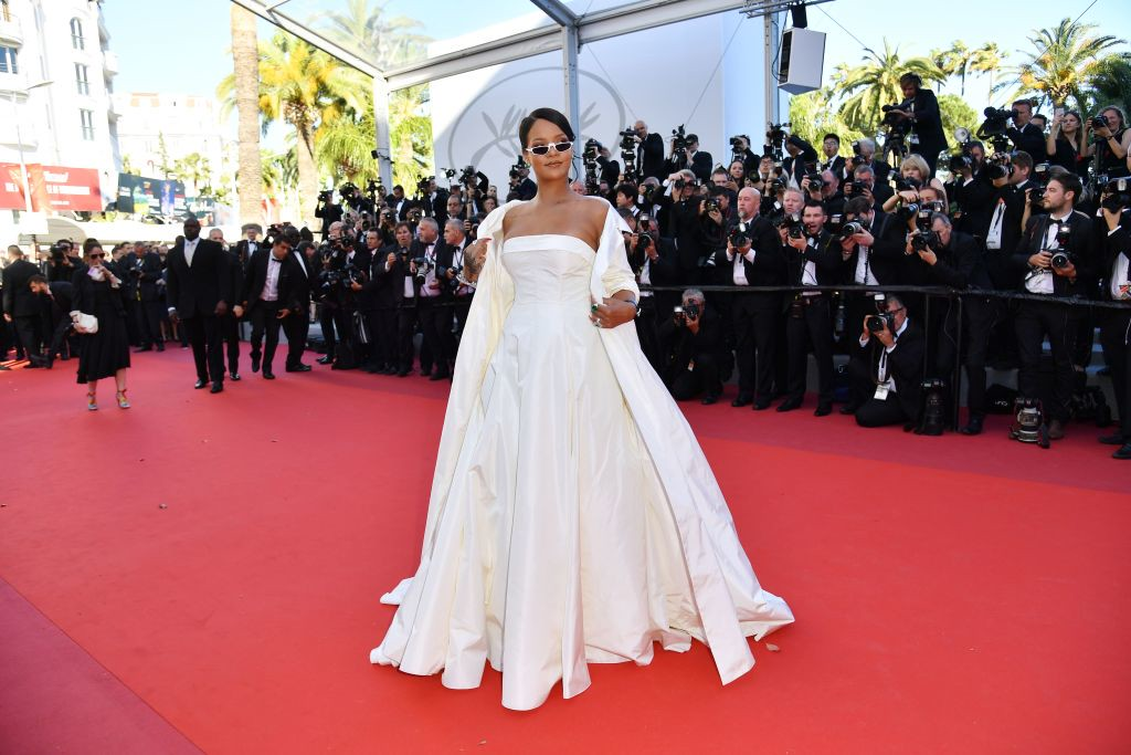 . Barbadian singer Rihanna poses as she arrives on May 19, 2017 for the screening of the film \'Okja\' at the 70th edition of the Cannes Film Festival in Cannes, southern France.  (ALBERTO PIZZOLI/AFP/Getty Images)