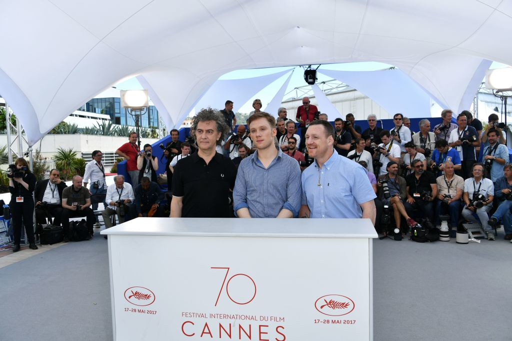 . (FromL) French director Jean-Stephane Sauvaire, British actor Joe Cole and former British boxer and author Billy Moore pose on May 19, 2017 during a photocall for the film \'A Prayer before Dawn\' at the 70th edition of the Cannes Film Festival in Cannes, southern France.  (LOIC VENANCE/AFP/Getty Images)