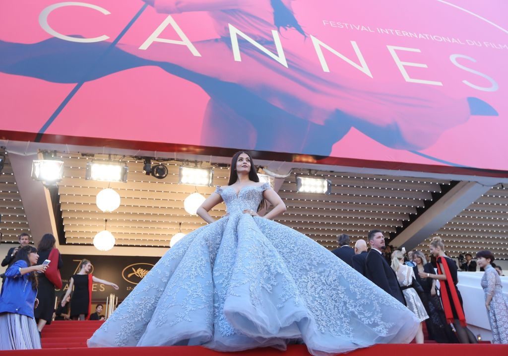. Indian actress Aishwarya Rai Bachchan poses as she arrives on May 19, 2017 for the screening of the film \'Okja\' at the 70th edition of the Cannes Film Festival in Cannes, southern France.  (VALERY HACHE/AFP/Getty Images)