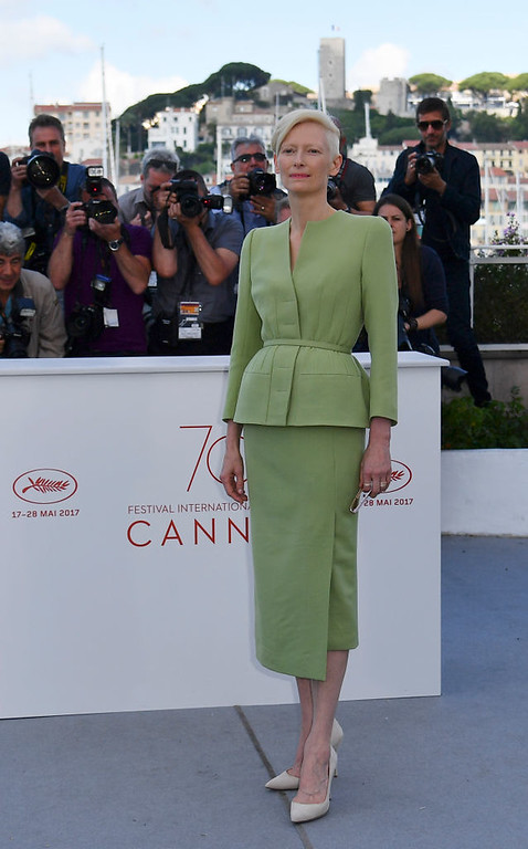 . British actress Tilda Swinton poses on May 19, 2017 during a photocall for the film \'Okja\' at the 70th edition of the Cannes Film Festival in Cannes, southern France.  (ALBERTO PIZZOLI/AFP/Getty Images)
