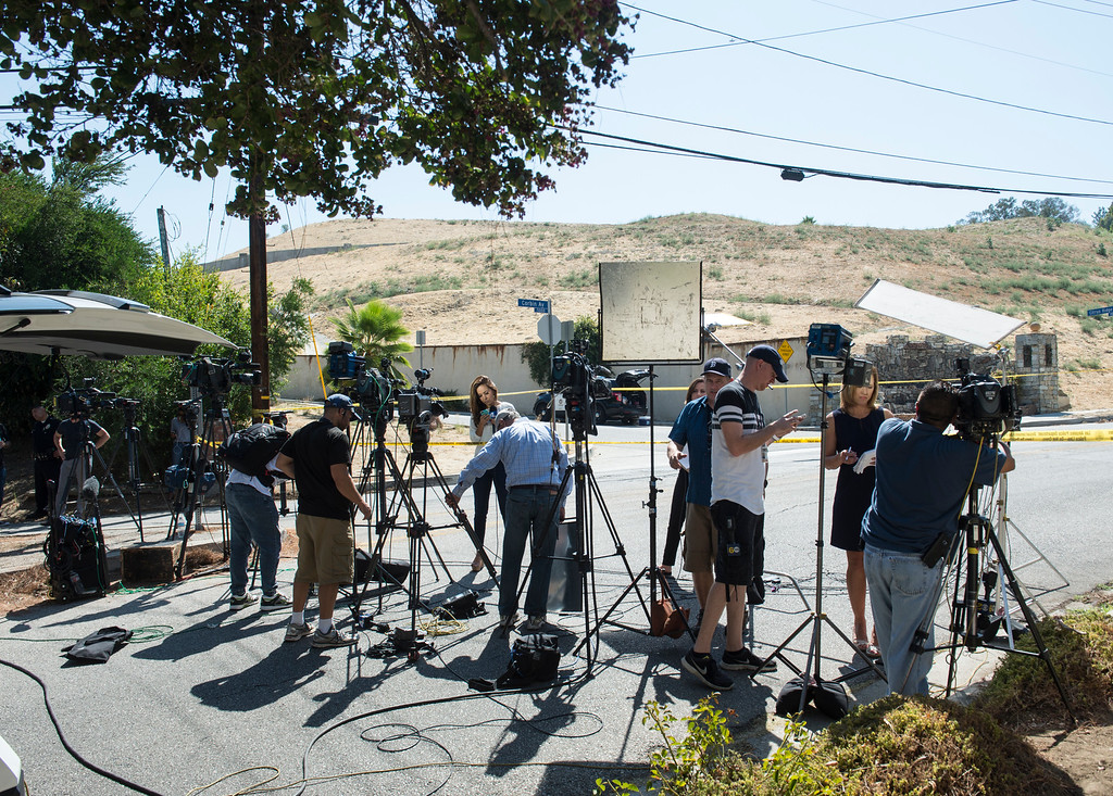 . Media sets up near entertainer Chris Brown\'s home at the 5000 block Corbin Ave in Tarzana CA on Tuesday, August 30, 2016. (Photo by ED CRISOSTOMO, STAFF PHOTOGRAPHER)