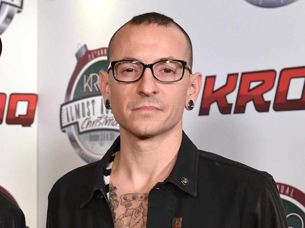 . FILE - In this Dec. 13, 2014 file photo, Chester Bennington poses in the press room at the 25th annual KROQ Almost Acoustic Christmas in Inglewood, Calif. Bennington died on July 20, 2017. He was 41. (Photo by John Shearer/Invision/AP, File)