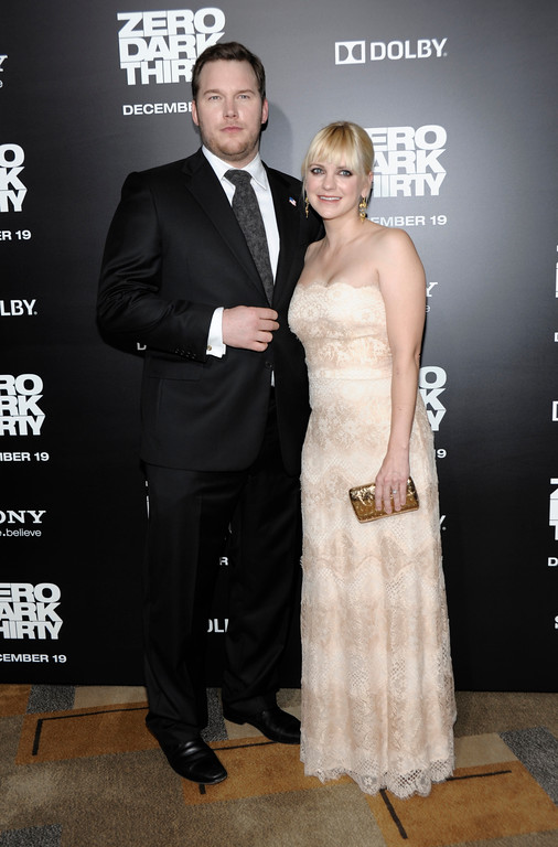 ". Actor Chris Pratt, left, and actress Anna Faris arrive at the premiere of the feature film ""Zero Dark Thirty\"" at the Dolby Theatre in Los Angeles on Monday, Dec. 10, 2012. (Photo by Dan Steinberg/Invision/AP)"