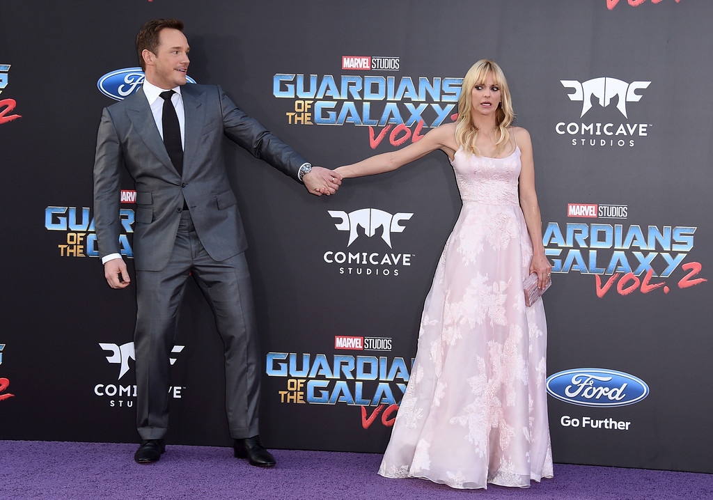 ". Chris Pratt, left, and Anna Faris arrive at the world premiere of ""Guardians of the Galaxy Vol. 2\"" at the Dolby Theatre on Wednesday, April 19, 2017, in Los Angeles. Pratt and Faris have announced they are separating after eight years of marriage. The actors announced their breakup on social media Sunday, Aug. 6, 2017, in a joint statement confirmed by Pratt�s publicist.  (Photo by Jordan Strauss/Invision/AP)"