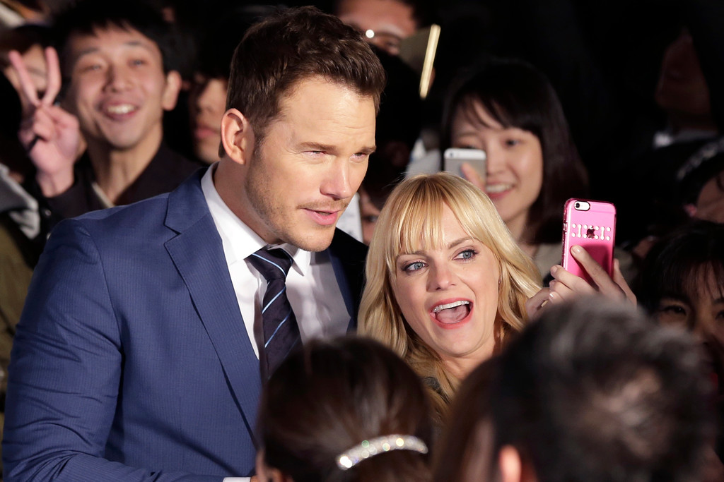 ". American actor Chris Pratt, and his wife Anna Faris take their selfie during Japan premiere of ""Guardians of the Galaxy Vol. 2\"" in Tokyo, Monday, April 10, 2017. (AP Photo/Shizuo Kambayashi)"