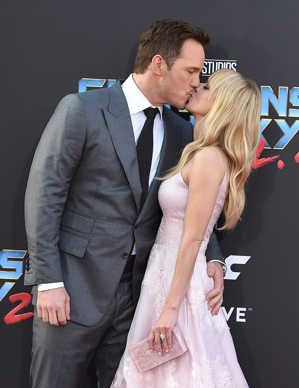 ". Chris Pratt, left, and Anna Faris kiss as they arrive at the world premiere of ""Guardians of the Galaxy Vol. 2\"" at the Dolby Theatre on Wednesday, April 19, 2017, in Los Angeles. Pratt and Faris have announced they are separating after eight years of marriage. The actors announced their breakup on social media Sunday, Aug. 6, 2017, in a joint statement confirmed by Pratt�s publicist.  (Photo by Jordan Strauss/Invision/AP)"
