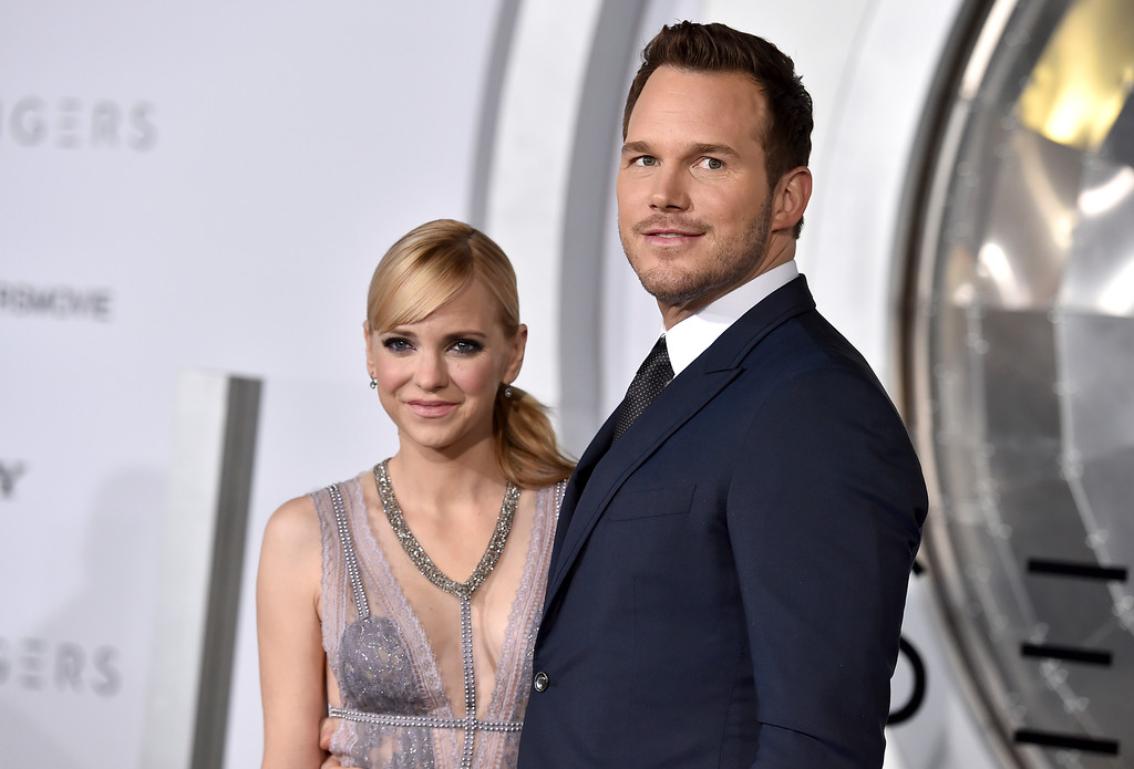 ". FILE- In this Dec. 14, 2016, file photo, Chris Pratt, right, and Anna Faris arrive at the Los Angeles premiere of ""Passengers\""at the Village Theatre Westwood. Pratt and Faris have announced they are separating after eight years of marriage. The actors announced their breakup on social media Sunday, Aug. 6, 2017, in a joint statement confirmed by Pratt�s publicist. (Photo by Jordan Strauss/Invision/AP, File)"