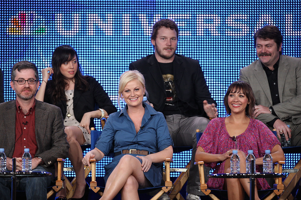 . PASADENA, CA - JANUARY 10:  (L-R)  Executive Producer/Creator Greg Daniels, actress Aubrey Plaza, actress Amy Poehler, actor Chris Pratt, actress Rashida Jones and actor Nick Offerman speak onstage for NBC\'s television show \'Parks and Recreation\' during the NBC Universal 2010 Winter TCA Tour day 2 at the Langham Hotel on January 10, 2010 in Pasadena, California.  (Photo by Frederick M. Brown/Getty Images)
