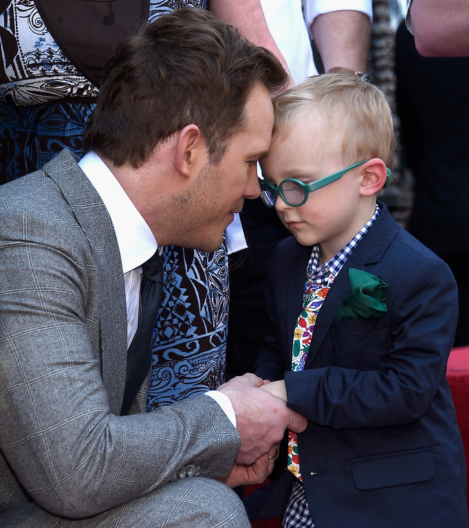 . HOLLYWOOD, CA - APRIL 21: Actor Chris Pratt (L) and son Jack Pratt at Chris Pratt Honored With Star On The Hollywood Walk Of Fame on April 21, 2017 in Hollywood, California.  (Photo by Kevork Djansezian/Getty Images)