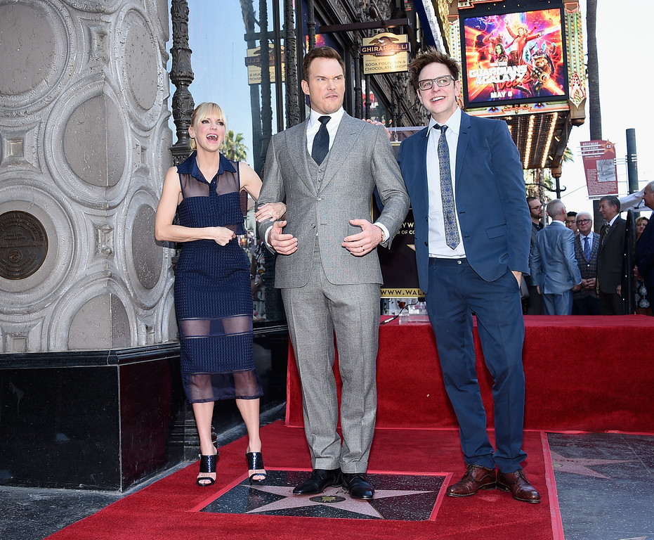 . HOLLYWOOD, CA - APRIL 21:  (L-R) Actors Anna Faris, Chris Pratt and Writer/director James Gunn at Chris Pratt Honored With Star On The Hollywood Walk Of Fame on April 21, 2017 in Hollywood, California.  (Photo by Kevork Djansezian/Getty Images)