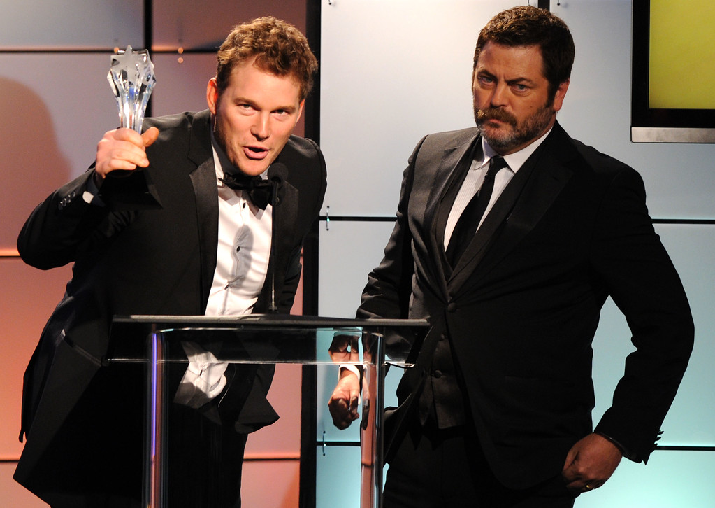 ". Chris Pratt, left, and Nick Offerman accept the award for guest performer in a comedy for ""Parks and Recreation\"" on behalf of Paul Rudd onstage at the 2nd Annual Critics\' Choice Television Awards at the Beverly Hilton Hotel on Monday June 18, 2012 in Beverly Hills, Calif. (Photo by Vince Bucci/Invision/AP)"