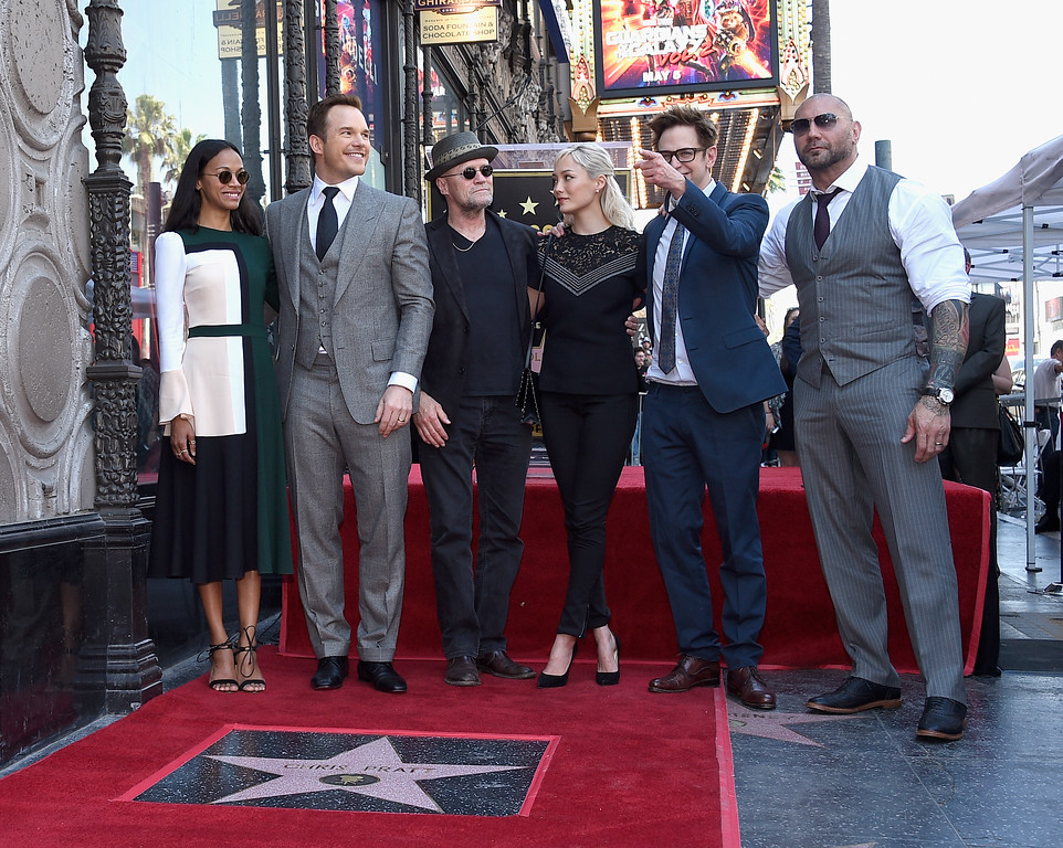 . HOLLYWOOD, CA - APRIL 21: (L-R) Actors Zoe Saldana, Chris Pratt, Michael Rooker, Pom Klementieff, Writer/director James Gunn and actor Dave Bautista at Chris Pratt Honored With Star On The Hollywood Walk Of Fame on April 21, 2017 in Hollywood, California.  (Photo by Kevork Djansezian/Getty Images)