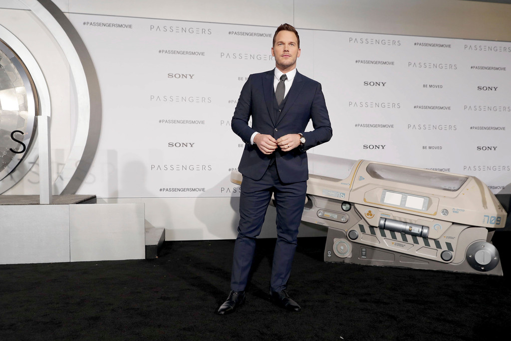 ". Chris Pratt seen at Columbia Pictures World Premiere of ""Passengers\"" at Regency Village Theatre on Wednesday, Dec. 14, 2016, in Los Angeles. (Photo by Eric Charbonneau/Invision for Sony Pictures/AP Images)"