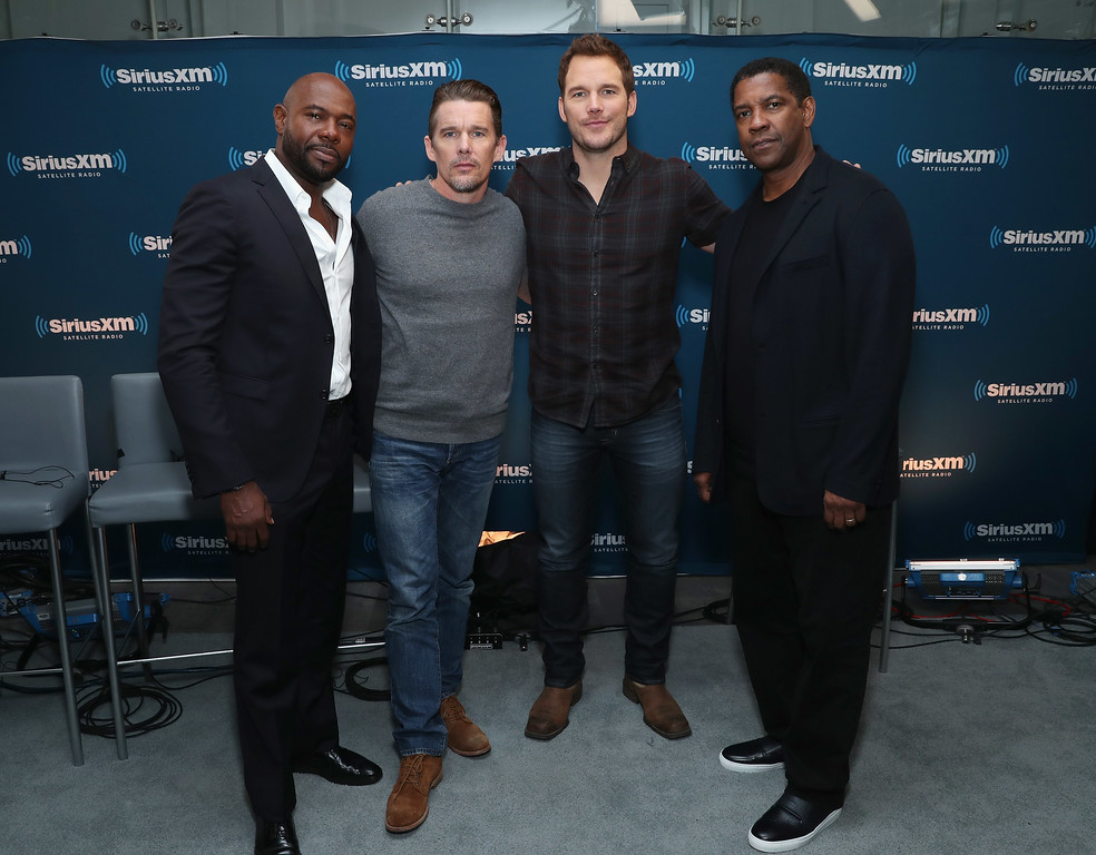 . NEW YORK, NY - SEPTEMBER 19:  Director Antoine Fuqua and actors Ethan Hawke, Chris Pratt and Denzel Washington participate in SiriusXM\'s \'Town Hall\' with the cast of \'The Magnificent Seven\' hosted by SiriusXM host Julia Cunningham on September 19, 2016 in New York City.  (Photo by Cindy Ord/Getty Images for SiriusXM)