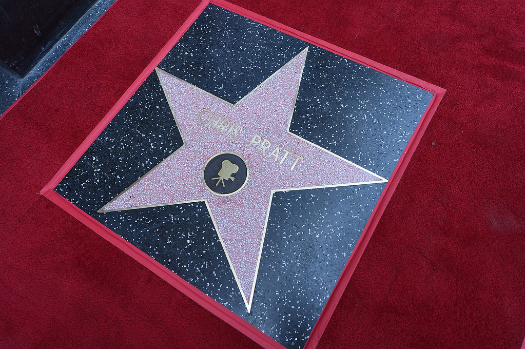 . HOLLYWOOD, CA - APRIL 21:  Chris Pratt\'s star is seen as Pratt is honored with a star on the Hollywood Walk Of Fame on April 21, 2017 in Hollywood, California.  (Photo by Kevork Djansezian/Getty Images)