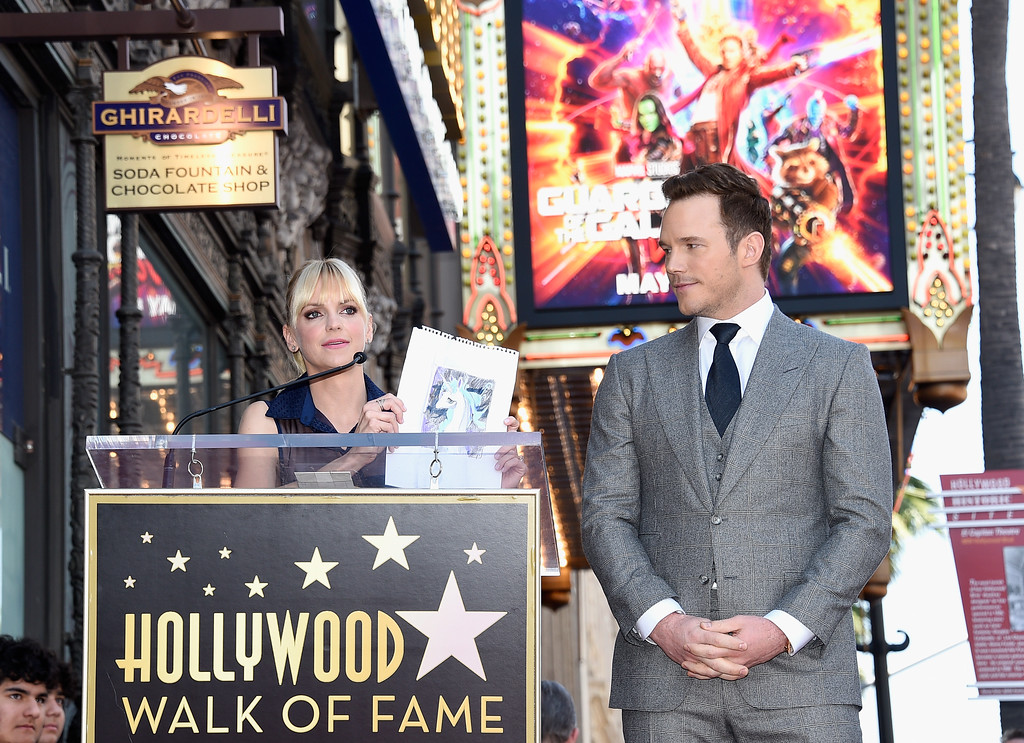 . HOLLYWOOD, CA - APRIL 21:  Actors Anna Faris (L) and Chris Pratt at Chris Pratt Honored With Star On The Hollywood Walk Of Fame on April 21, 2017 in Hollywood, California.  (Photo by Kevork Djansezian/Getty Images)