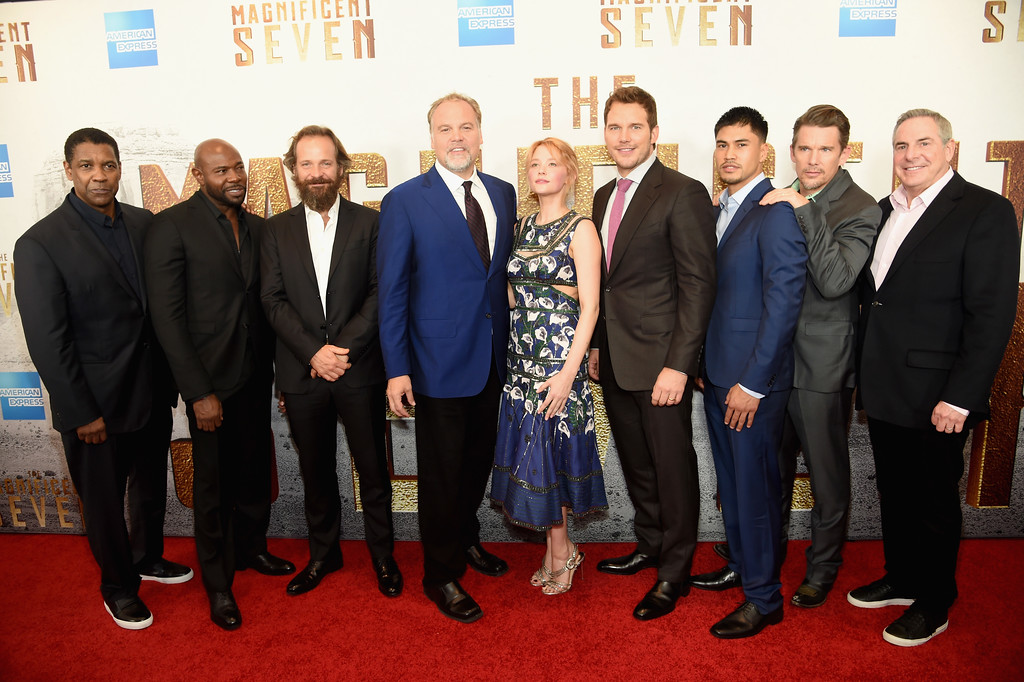 ". NEW YORK, NY - SEPTEMBER 19:  Denzel Washington, Antoine Fuqua , Peter Sarsgaard, Vincent D\'Onofrio, Haley Bennett, Chris Pratt, Martin Sensmeier, Ethan Hawke and Roger Birnbaum  attend ""The Magnificent Seven\"" premiere at the Museum of Modern Art on September 19, 2016 in New York City.  (Photo by Jamie McCarthy/Getty Images)"