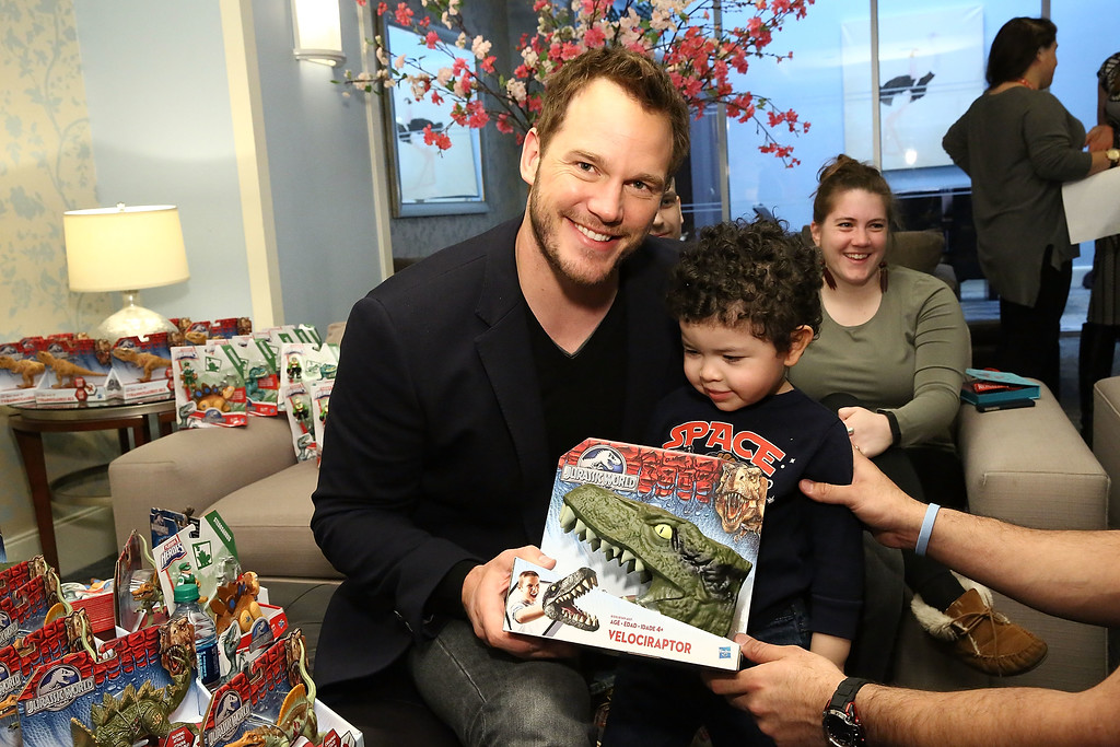 . NEW YORK, NY - APRIL 24:  Big smiles at Ronald McDonald House New York with actor Chris Pratt who dropped by with Hasbro Jurassic World toys at Ronald McDonald House on April 24, 2015 in New York City.  (Photo by Astrid Stawiarz/Getty Images)