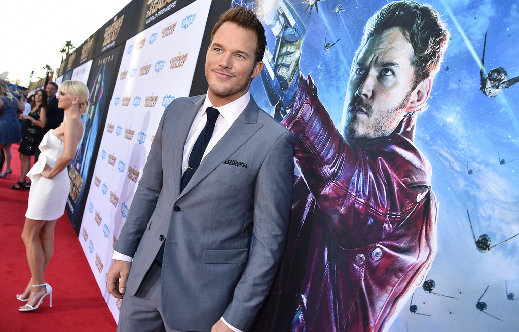 ". Chris Pratt arrives at the premiere of ""The Guardians Of The Galaxy\"" at El Capitan Theatre on Monday, July 21, 2014, in Los Angeles. (Photo by John Shearer/Invision/AP)"