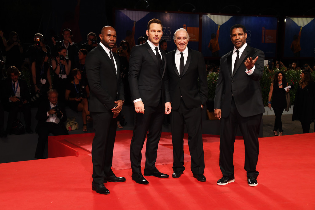". VENICE, ITALY - SEPTEMBER 10:  Director and executive producer Antoine Fuqua, actor Chris Pratt, Walter Mirisch and Actor Denzel Washington attend the  premiere of ""The Magnificent Seven\' during the 73rd Venice Film Festival at Sala Grande on September 10, 2016 in Venice, Italy.  (Photo by Ian Gavan/Getty Images)"