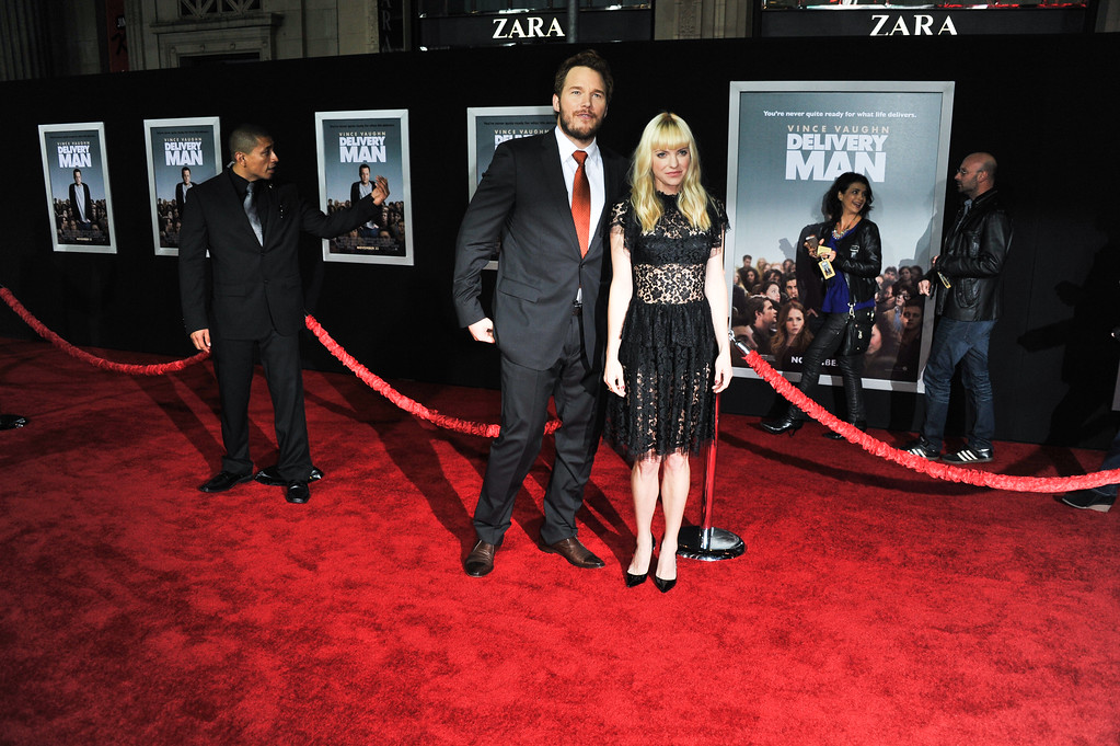 ". Chris Pratt, left, and Anna Faris arrive at the world premiere of ""Delivery Man\"" at The El Capitan Theatre on Sunday, Nov. 3, 2013 in Los Angeles. (Photo by Richard Shotwell/Invision/AP)"