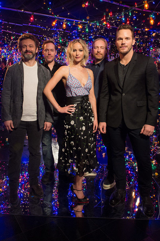 . LOS ANGELES, CA - DECEMBER 09:  (L-R) Actor Michael Sheen, writer Jon Spaihts, actress Jennifer Lawrence, director Morten Tyldum, and actor Chris Pratt attend \'photo call for Columbia Pictures\' \'Passengers\' at Four Seasons Hotel Los Angeles at Beverly Hills on December 9, 2016 in Los Angeles, California.  (Photo by Emma McIntyre/Getty Images)