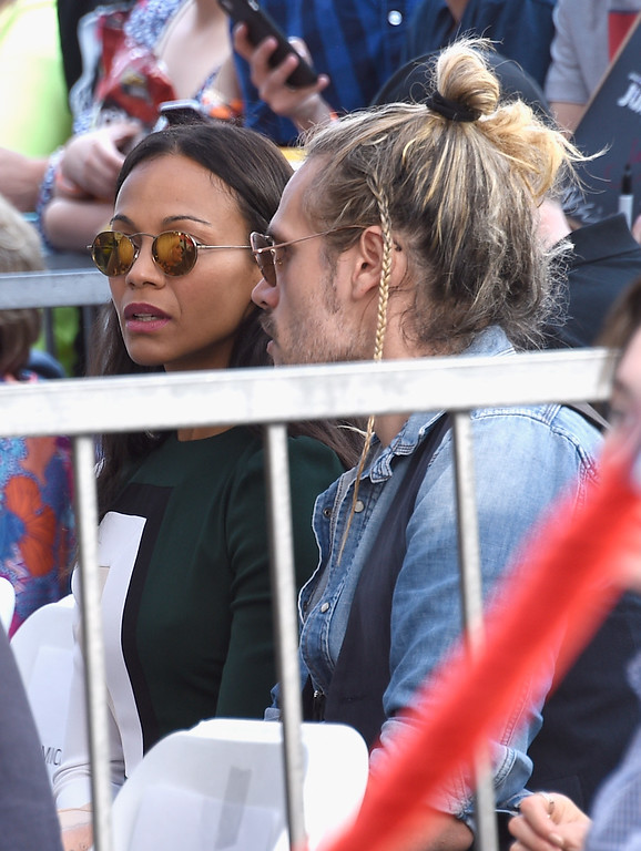 . HOLLYWOOD, CA - APRIL 21: Actor Zoe Saldana (L) and Marco Perego at Chris Pratt Honored With Star On The Hollywood Walk Of Fame on April 21, 2017 in Hollywood, California.  (Photo by Kevork Djansezian/Getty Images)