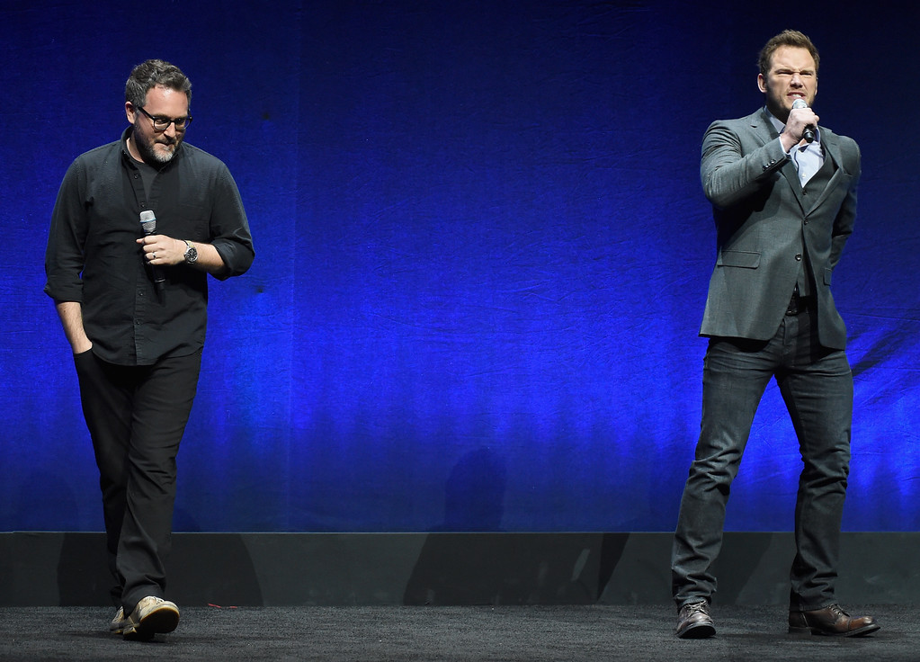 . LAS VEGAS, NV - APRIL 23:  Director Colin Trevorrow and actor Chris Pratt speak onstage at Universal Pictures Invites You to an Exclusive Product Presentation Highlighting its Summer of 2015 and Beyondat The Colosseum at Caesars Palace during CinemaCon, the official convention of the National Association of Theatre Owners, on April 23, 2015 in Las Vegas, Nevada.  (Photo by Michael Buckner/Getty Images for CinemaCon)