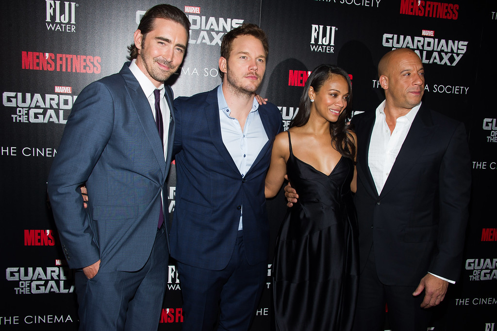 ". Lee Pace, from left, Chris Pratt, Zoe Saldana and Vin Diesel attend a screening of ""Guardians of the Galaxy\"" hosted by The Cinema Society and Men\'s Fitness on Tuesday, July 29, 2014 in New York. (Photo by Charles Sykes/Invision/AP)"