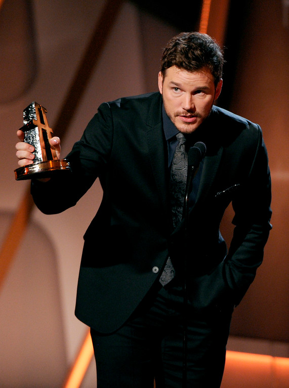 . Chris Pratt accepts the Hollywood blockbuster award on stage at the Hollywood Film Awards at the Palladium on Friday, Nov. 14, 2014, in Los Angeles. (Photo by Chris Pizzello/Invision/AP)