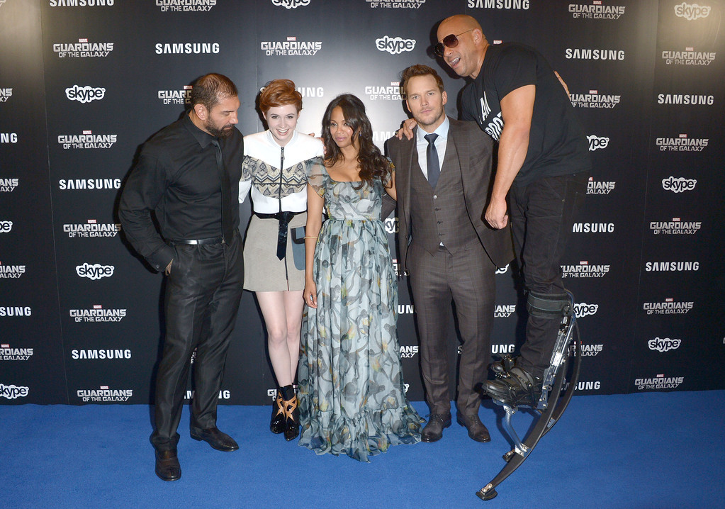. Karen Gillan, David Bautista, Zoe Saldana, Chris Pratt and Vin Diesel attend Guardians Of The Galaxy Premiere in leicester square,  London on Thursday,  July, 24, 2014. (Photo by Jon Furniss/Invision/AP)