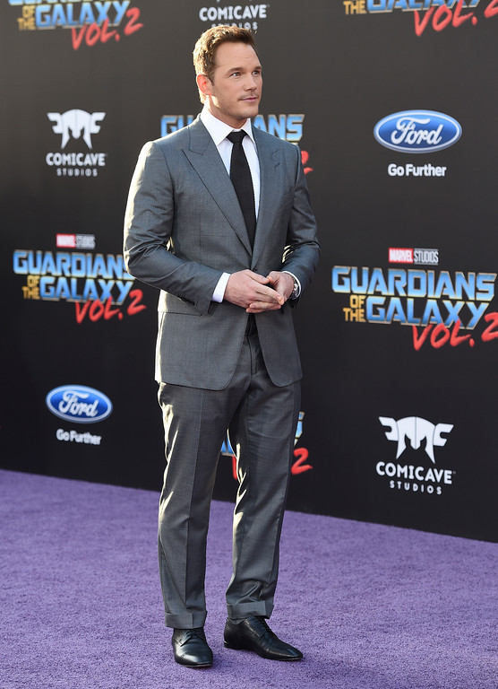 ". Chris Pratt arrives at the world premiere of ""Guardians of the Galaxy Vol. 2\"" at the Dolby Theatre on Wednesday, April 19, 2017, in Los Angeles. (Photo by Jordan Strauss/Invision/AP)"