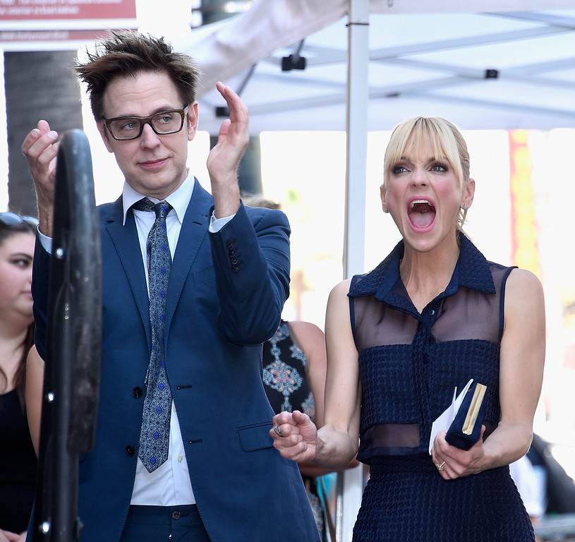 . HOLLYWOOD, CA - APRIL 21:  Writer/director James Gunn (L) and actor Anna Faris at Chris Pratt Honored With Star On The Hollywood Walk Of Fame on April 21, 2017 in Hollywood, California.  (Photo by Kevork Djansezian/Getty Images)