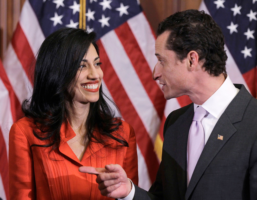 . Rep. Anthony Weiner, D-N.Y., and his wife, Huma Abedin, an aide to Secretary of State Hillary Rodham Clinton, are pictured after a ceremonial swearing in of the 112th Congress on Capitol Hill in Washington in this photo taken Jan. 5, 2011. Abedin said Monday, August 29, 2016,  that she is separating from her husband, Anthony Weiner, after the former congressman was accused in yet another sexting scandal. (AP Photo/Charles Dharapak)