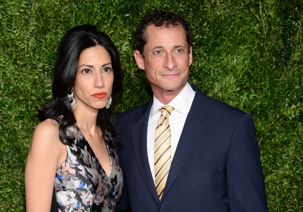 . Anthony Weiner and wife Huma Abedin attend the 12th Annual CFDA/Vogue Fashion Fund Awards at Spring Studios on Monday, Nov. 2, 2015, in New York. Abedin said Monday, August 29, 2016,  that she is separating from her husband, Anthony Weiner, after the former congressman was accused in yet another sexting scandal. (Photo by Evan Agostini/Invision/AP)