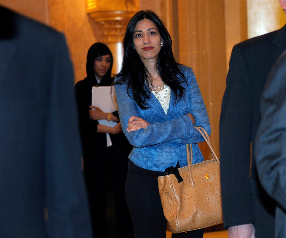 . Huma Abedin, aide to Secretary of State Hillary Rodham Clinton, heads to a meeting at the Emirates Palace Hotel in Abu Dhabi, United Arab Emirates, Thursday, June 9, 2011. Abedin is married to Rep. Anthony Weiner, D-N.Y. (AP Photo/Susan Walsh, Pool)