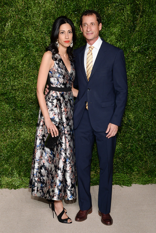 . Anthony Weiner and wife Huma Abedin attend the 12th Annual CFDA/Vogue Fashion Fund Awards at Spring Studios on Monday, Nov. 2, 2015, in New York. (Photo by Evan Agostini/Invision/AP)