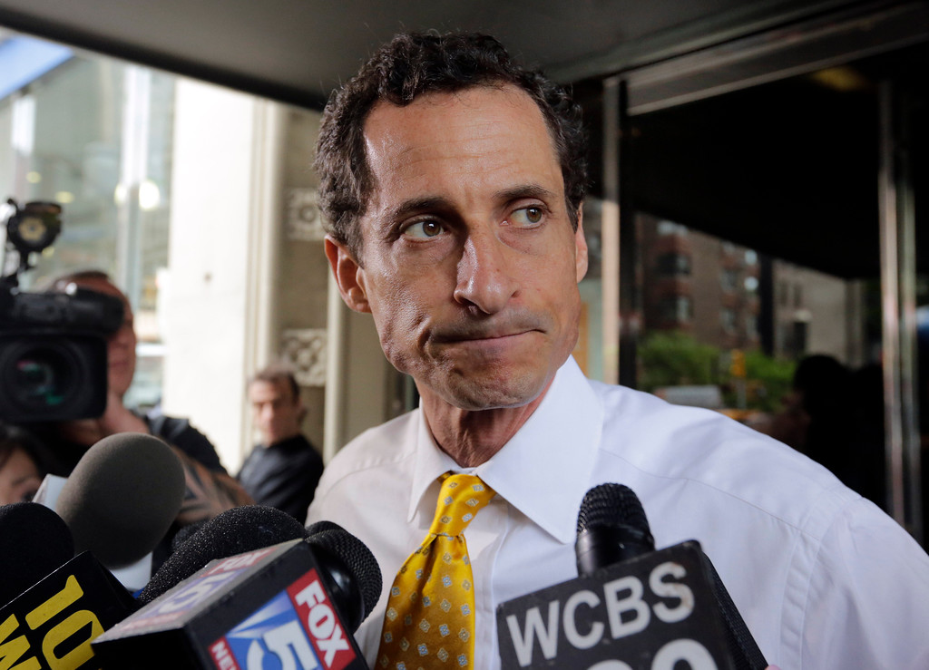. FILE - In this July 24, 2013 file photo, former New York Rep. Anthony Weiner leaves his apartment building in New York.The judge accepted Weiner\'s guilty plea Friday, May 19, 2017,  to a charge of transmitting sexual material to a minor.  (AP Photo/Richard Drew, File)