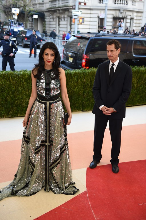 . Anthony Weiner and Huma Abedin  arrives at the Costume Institute Benefit at The Metropolitan Museum of Art May 2, 2016 in New York. (TIMOTHY A. CLARY/AFP/Getty Images)